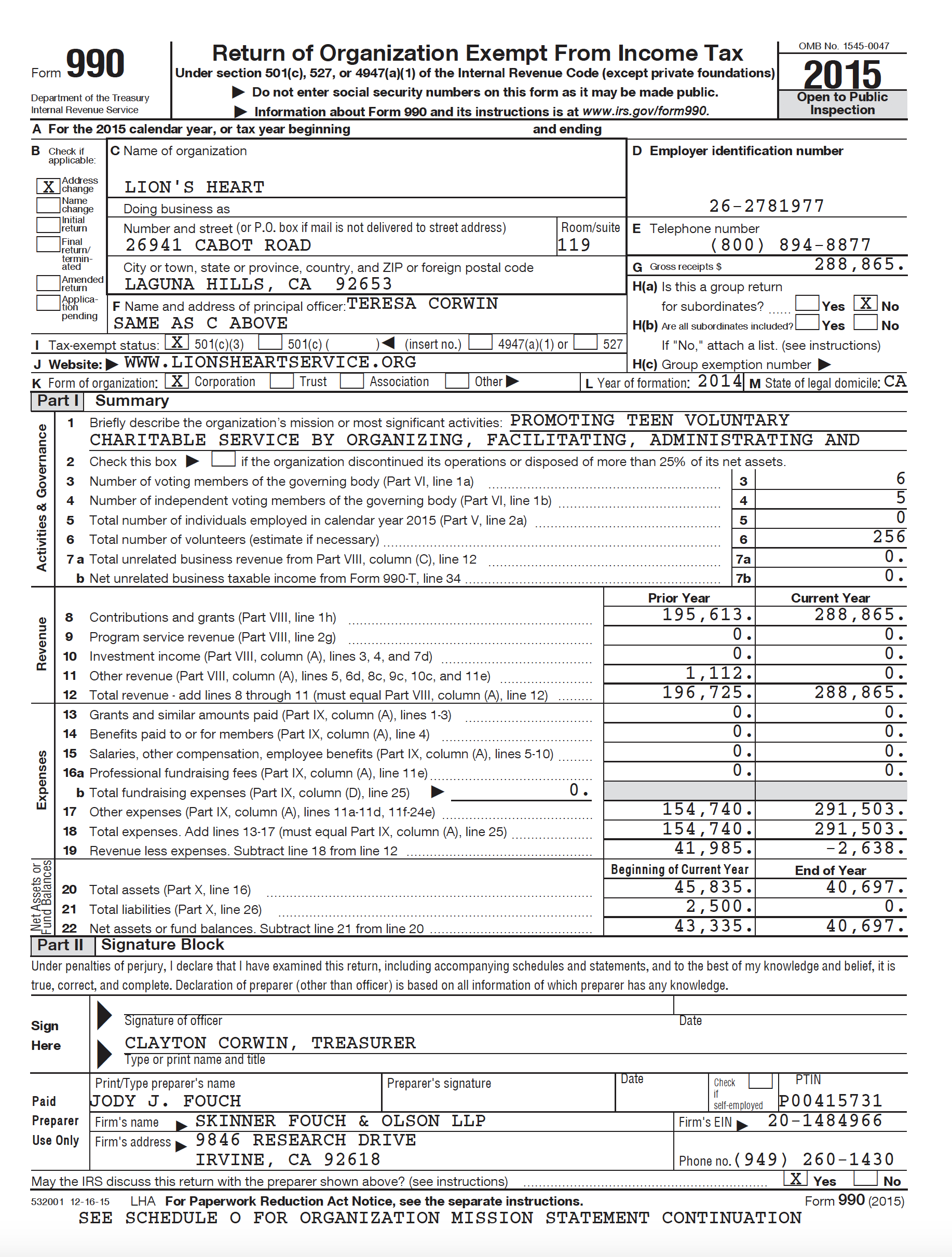 990 IRS form for 2015
