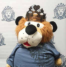 Photo of TOBY Lion's Heart Mascot suffed Lion. Toby stands for Think of Others before yourself